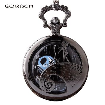 Steampunk The Nightmare Before Quartz Pocket Watch Christmas Jack Skellington Tim Burton Movie  Watches Pendent Necklace Gifts