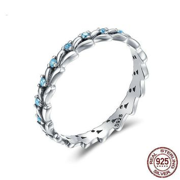 925 Sterling Silver Stackable Ring Wheat Wave Clear CZ Finger Rings