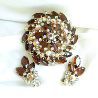 Vintage JULIANA, D&E, Amber, Topaz, Clear and Aurora Borealis Rhinestones Layered Dome Brooch or Pin and Earrings Demi Parure Set