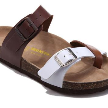Birkenstock Mayari Sandals Leather Brown And White - Ready Stock