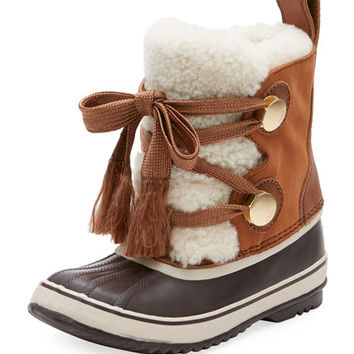 Chloe x Sorel Shearling Fur-Trim Weather Boot
