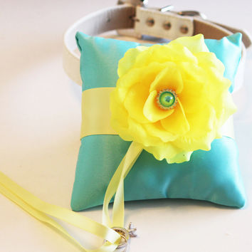 Aqua blue Yellow Ring Pillow, Ring Pillow attach to the High quality Leather Collar, Ring Bearer Pillow, Pet wedding accessory