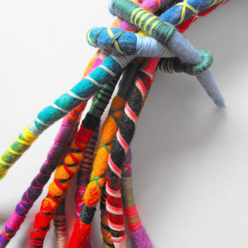Felted Art Atebas Felt Dreadlock Dread Fall Hair Tie Dread Wrap Soft Felt Jewelry Dreadlock Accessories