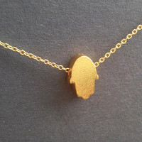 Dainty Hamsa Necklace / Simple Necklace with Hamsa / Turkish Protection Jewelry / Talisman / Amulet Lucky Jewellery / Layered / N135