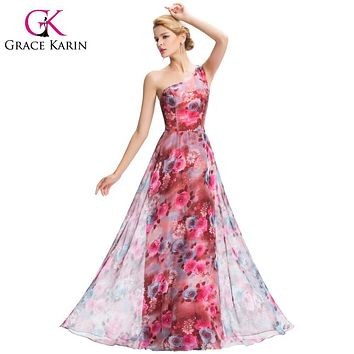 Grace Karin One Shoulder Long Bridesmaid Dresses Chiffon A line Pretty Floral Print Pattern Bridesmaid Gown GK000059