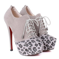 Gray Leopard Print Ankle Boots With High Heel