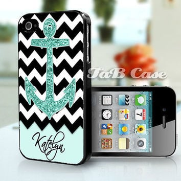 Personalized Mint Glitter Anchor Black Chevron   iPhone by TaBCase