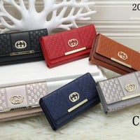 """""""Gucci"""" Fashion Double G Letter Embossed Women Clutch Double Layer Flip Small Square Bag wallet"""