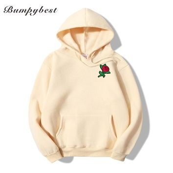 Spring autumn winter Hoodies Men's Sweatshirts Rose flower Embroidery cloth print Sweatshirts Male Hoodie Sweatshirt