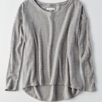 AEO Ribbed Jegging Sweater , Light Heather