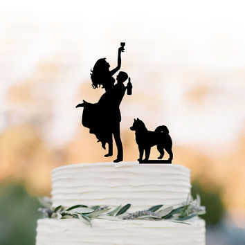Drunk Bride Wedding Cake topper dog, Cake Toppers with custom dog bride and groom silhouette, funny wedding cake toppers customized dog