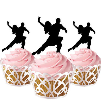 6 pcs in one set dancer CupCake toppers for party decor, acrylic cupcake toppers for birthday, bridal shower cake topper tango dancer