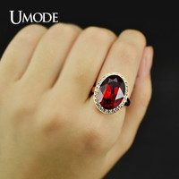 UMODE Anel Feminino Rose Gold Color Big Egg Bijoux Bague Femme Crystal Engagement Ring JR0094AE