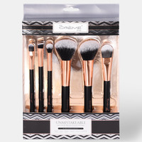 Unmistakable Luxury Six Piece Brush Set - Black/Rose Gold
