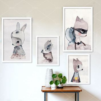Ins hot cute cartoon rabbit Watercolor illustration Canvas Art Print Painting Poster, Wall Picture for Girls Room Decoration