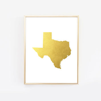 Texas State Gold Foil Art Print