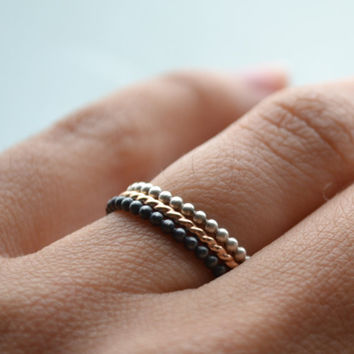 Trio of colors stacking rings silver and 14k gold by lunaticart