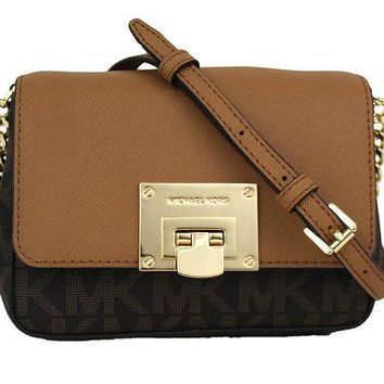 MDIG2JE Michael Kors Tina Small Leather Clutch, Crossbody Shoulder Bag