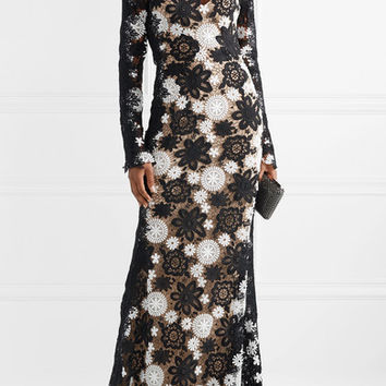 Naeem Khan - Two-tone guipure lace gown