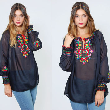 Vintage 70s EMBROIDERED Peasant Top Bright FLORAL Boho Top Black Sheer Hippie Top