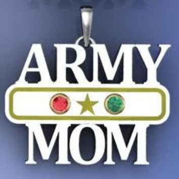 Army Mom Pendant With Two Personalized Birthstones in by NaomisCo2