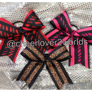 Cheer Bow - Red Zebra/Cheetah/Hot Pink Zebra Cheerleading Dance Ribbon