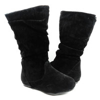 Girls Ositos Calf High Suede Zippered Boots Delta-K Black