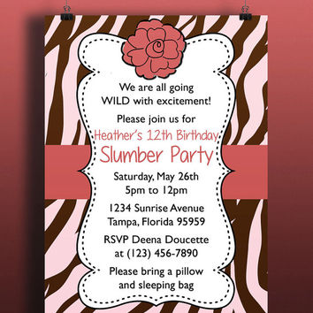 Instant Download-Tiger Pink Brown Coral Animal Print DIY Printable Birthday Party Baby Girl Shower Wedding Invitation Template