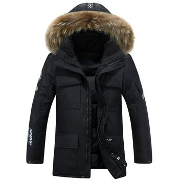 Slim Fur Collar Hooded Parka Down Men Thick Warm Good Down Coat For Man