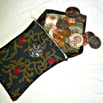 Repurposed men's tie wallet, coin purse or make-up bag