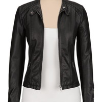 Black Ribbed Side Faux Leather Jacket - Black