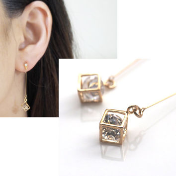 Pierced Look! Crystals in Gold tone Cubes Dangle Invisible Clip on Earrings,Wedding Clip-On Earrings, Bridal Clip Earrings, Diamond shape