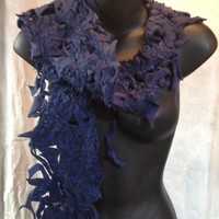 Navy Fleece Scarf from Recycled and Repurposed Fabric