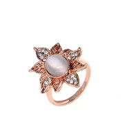 Dear Deer Rose Gold Plated Vintage Leaves Leaf CZ Moonstone Cocktail Ring