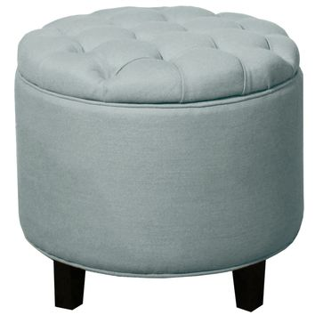 Avery Tufted Round Storage Ottoman, Ocean