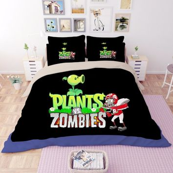 Cool Black Plants vs. Zombies game 3D print bedding sets Children's boys Adult duvet cover High quality single full queen king sizeAT_93_12