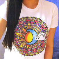 Colorful Sun and Moon t-shirt