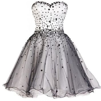 Ellames Short Prom Dress Tulle Homecoming Dress with Beads