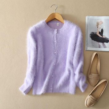 Kashana Apparel 2017 New Styles Cable Knit Cardigan Womens Pure Mink Cashmere Solid Color Autumn/winter Purple Cardigan Sweater
