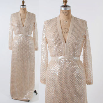 Vintage 1960s Sequin Dress / 60s Iridescent Ivory Fred Perlberg Plunging Evening Gown Wedding Bridal Dress S - M