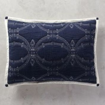 Tonoda Shams in Navy Blue Standard Shams Size Bedding by Anthropologie