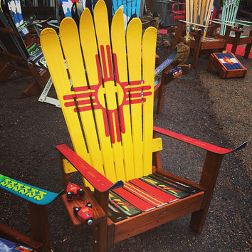 Hand Painted New Mexico Flag Adirondack Ski chair