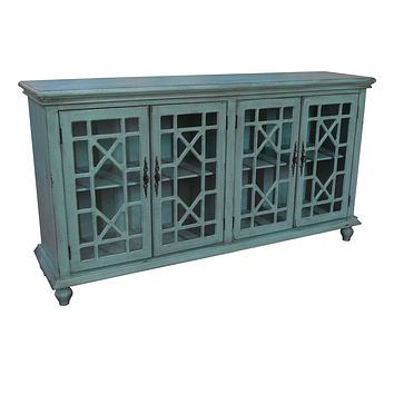 Mendenhall 4 Geometric Glass Door Textured Teal Sideboard By Crestview Collection Cvfzr1624