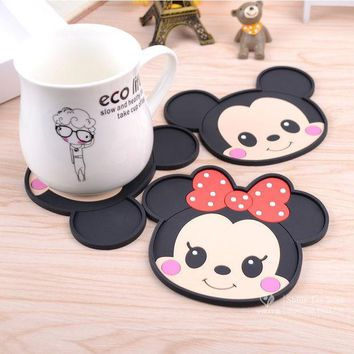 ICIK272 Mickey Mouse silicone dining table placemats coaster coffee drinks kitchen accessories cup bar mug placemats coaster mats  pads