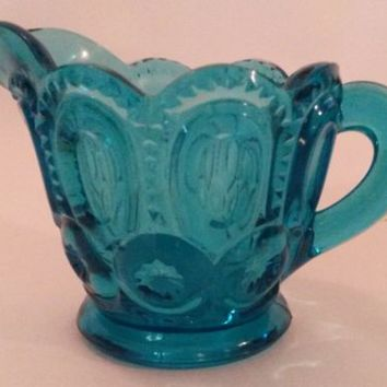 Vintage LE Smith Moon & Stars Turquoise Aqua Creamer Pitcher