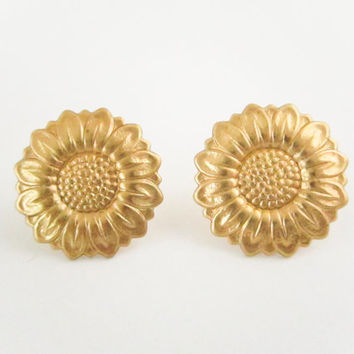 Brass Sunflower Earrings,Flower Earrings, Gold Earrings, Bridesmaid Earrings,  Dainty, Post, Bridal Party, Spring Jewelry, June Finds, Studs