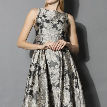 Faded Peonies Jacquard Prom Dress