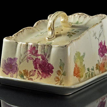 Antique Cheese Dish with Lid, F A Mehlem, Bonn, Germany, Cheese Keeper, Floral, Brushed Gold Trim, Porcelain
