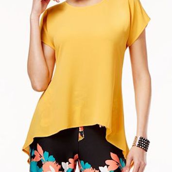 Cable&Gauge Women Split-Sleeve Stretch Yellow Crossover Asymmetric Blouse Top L
