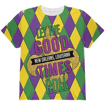 Mardi Gras Let the Good Times Roll Jester All Over Youth T Shirt